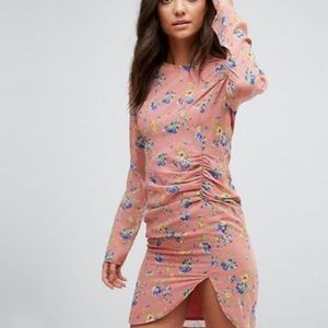 asos tall mini dress ruched side in floral pink